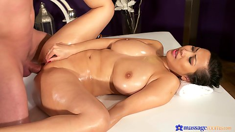 Asian is oiled and ready to leak some liquids Sharon Lee
