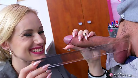 Dirty milf Angel Wicky takes dick out of geeks pants in office