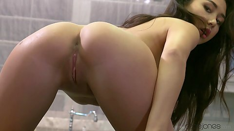 Solo kitchen masturbation with slime small chested young asian Jasminne Jem