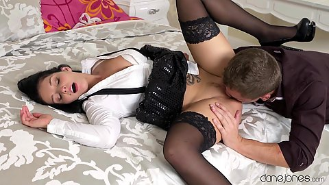 Naughty nympho half clothed Czech Lucia Denvile eaten then fuck in bed
