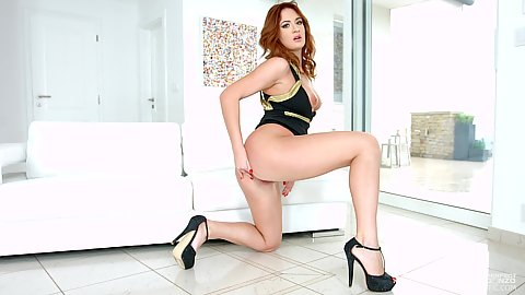 Redhead moving around in glamcore scene Eva Berger