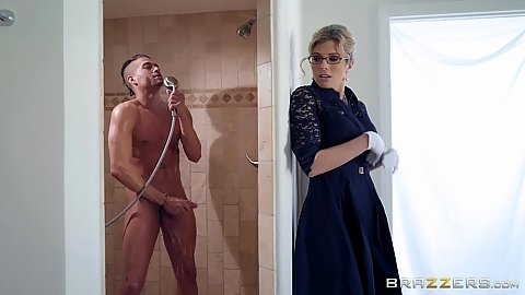 Bombshell cfnm milf Cory Chase finds man in shower and enters to join like a good stepmom
