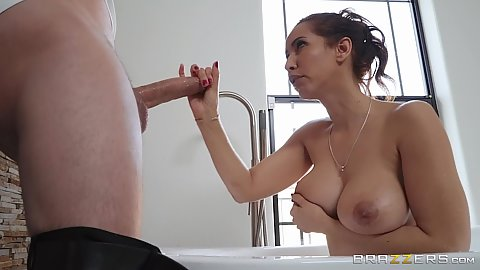 Large cocked private bodyguard getting dick sucked and fucked by a libidinous Isis Love in the shower