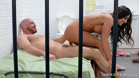Allowed conjugal visit in the prison cell with cock bouncing and standing entry wife milf Abigail Mac