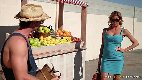 Outdoor milf Alexis Fawx approaching the peach selling man