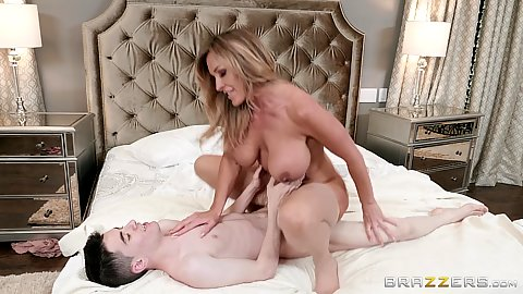 Fantastic milf pleasing younger males dick in bedroom with Aubrey Black