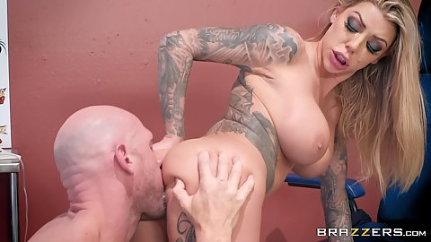 Big boobies Karma Rx ass licked by her tattoo parlor guy