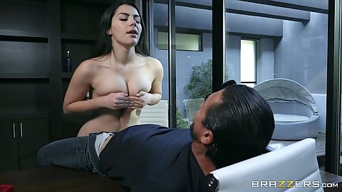 Titty fuck with spunky brunette Valentina Nappi working undercover and doing anal in office