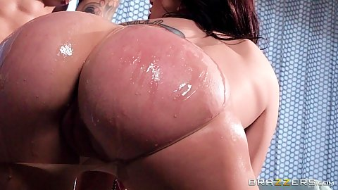 Great ass in oil and ripped nylon pantyhose Mandy Muse