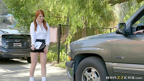 Cute redhead pale skinned waitress Penny Pax walking on the street