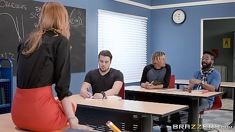 Foxy redhead teacher in miniskirt Lauren Phillips picks student to fuck her