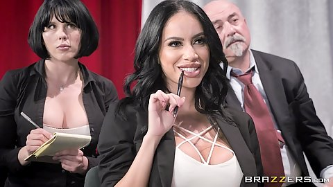 Victoria June finishes her meating and mobes into suck some dick