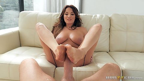 Footjob and feet adoration with fucking french seams girl Anissa Kate