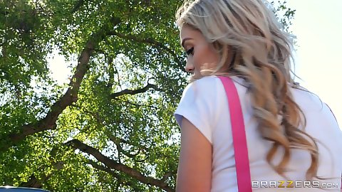 College girl outdoors Kali Roses looking cutie with her bike