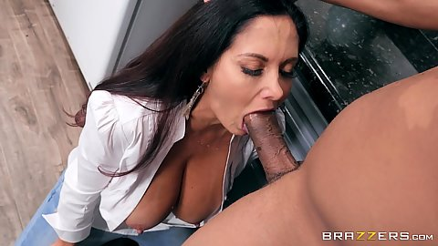 Dick sucking milf with unbuttoned shirt Ava Addams sucking dick and balls of big black shaft and floor sex