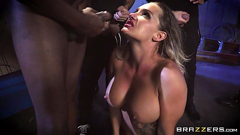 Cummed face with opening mouth wide skank Cali Carter in black cock white girl gang bang