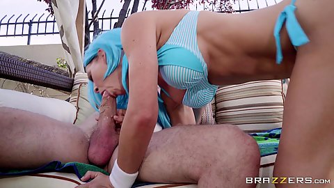 Great bikini girl outdoors blowjob and anal sex with cosplay Cherie Deville