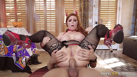 Lingerie anal sex with redhead devil halloween milf Penny Pax