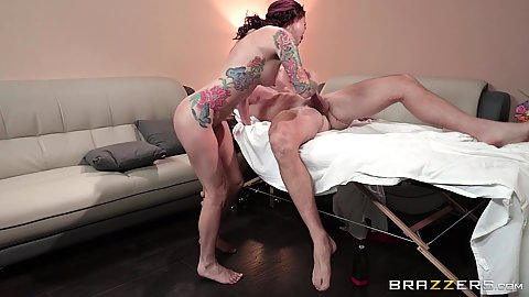 Juicy redhead athletic milf Monique Alexander with tattooes sits on dick and footjob during massage