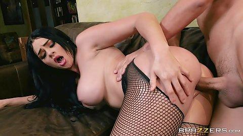 Large butt fishnet Skyla Novea sex bent over on knees and suck
