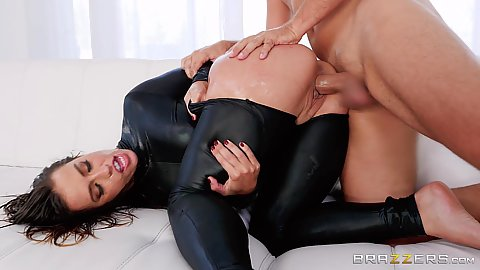Cat suit ripped on the ass chick nailed in her bubble butt Kelsi Monroe with anal