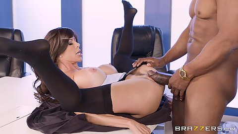 White big boobs milf porntstar Alexis Fawx spreads her legs for a massively huge black dick on table
