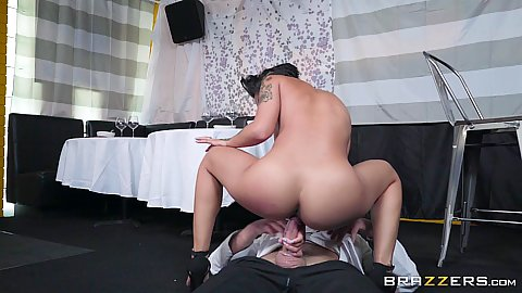 Tasting chefs dick on restaurant floor with asian star with round butt and tits Honey Gold