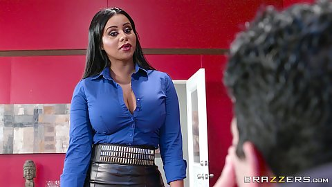 Fully clothed latina milf Mary Jean in the office suck and titty fuck