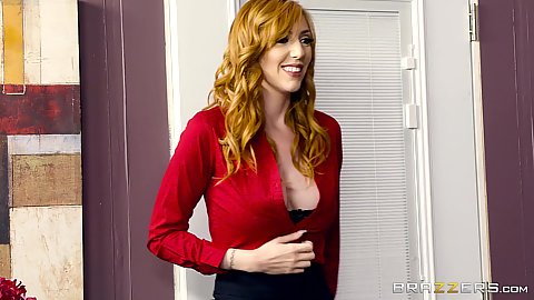 Redhead milf is dressed and showing some cleavage Lauren Phillips