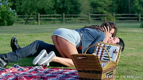 Miniskirt girl kissing at the picnic with Ashley Adams