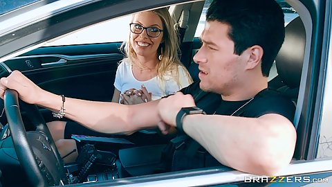 Driving around with Britney Amber playing cops and robbers and getting head in the car