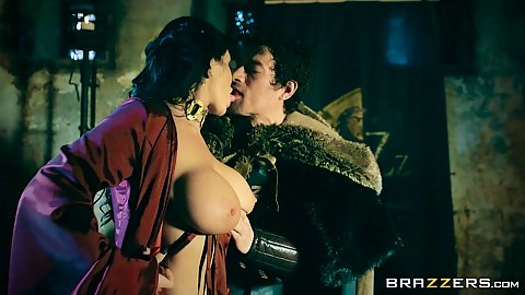 Qheen of thrones is here again with big chested Romi Rain doing some evil sucking