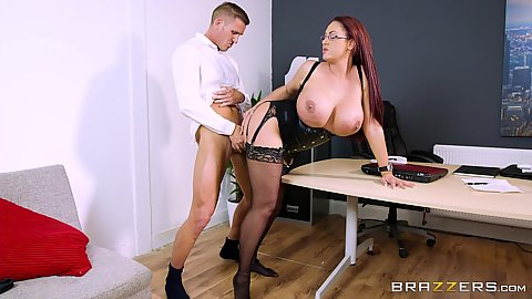 Huge tits redhead milf office freelance coworker fuck Emma Butt