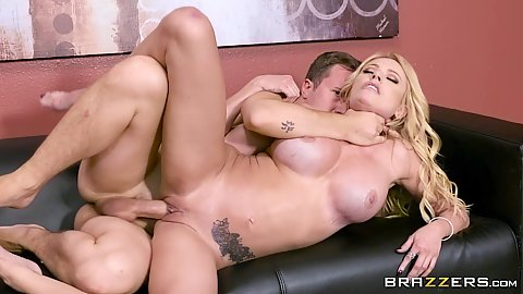 Choked and fucked in sideways sofa sex Briana Banks