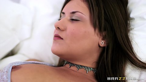 Lingerie natural boobies girl Mina Sauvage gets a great surprise