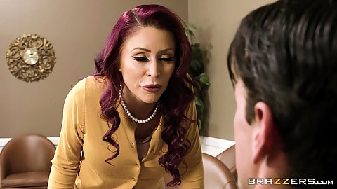 Redhead office milf fully clothed comes on to worker Monique Alexander