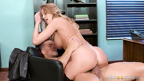 Casual office whore milf Britney Amber cowgirl dick sitting