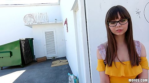 Picking up a cute shy brunette girl Shae Celestine who is the master nerd
