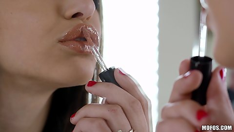 Abella Danger is a solo babe that likes to wear some lipstick