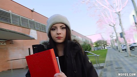 Brunette bookworm college student Rebecca Volpetti leaving her school to get picked up