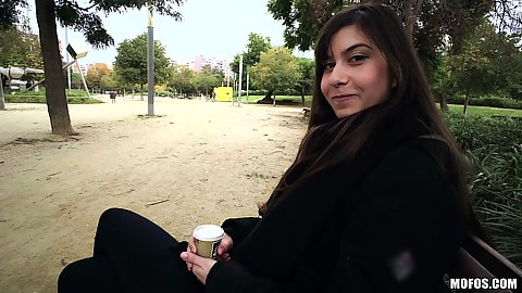 Outdoor pick up on a public bench with college Anya Krey getting paid for a quick flash
