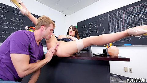 Aroused tutor in stockings Christiana Cinn half dressed fingered and pumped in class