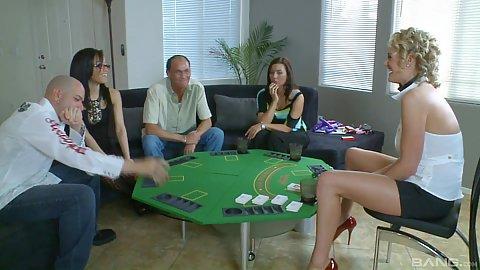 Casino sex game with pornstars ready for strip poker