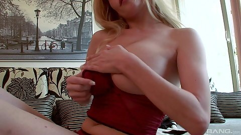 Big tits blonde Bella Karina showing off her nipples and titty fuck