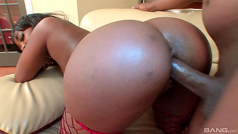 Round black butt Bonnie Amor fucked from behind in black and ebony doggy style