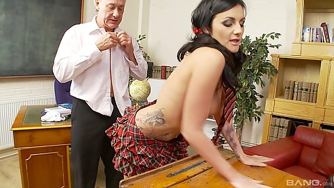 Standing fuck with grandpa taking charge in teachers lounge to bang this college ten