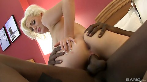 Great white girl Jenna Ivory sitting on enormous big black cock of her stepbrother in bedroom