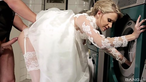 Laundry room sex with bride right up her wedding dress Angel Piaff