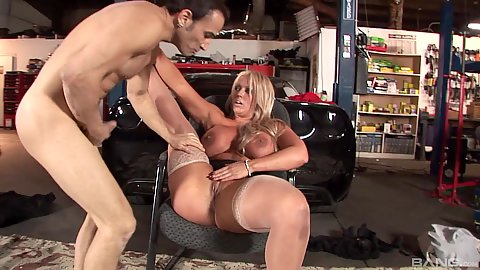 Stockings wearing horny milf Alura Jenson ready to put legs up and hard fucked
