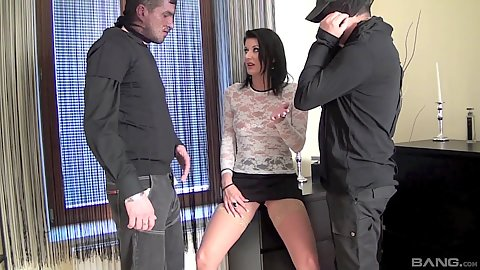 Slender euro girl catching two robbers in her home and sucks them